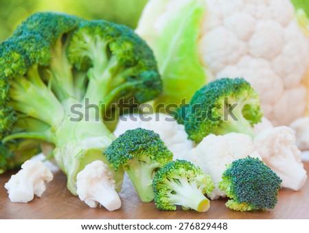 Broccoli and cauliflower  - stock photo