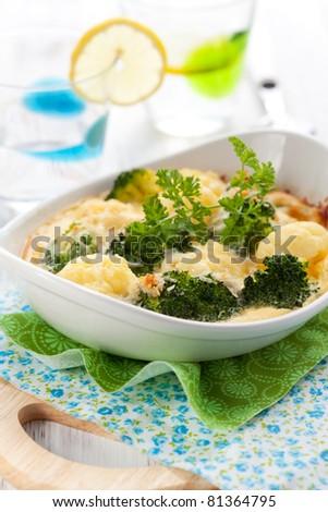 broccoli and cauliflower gratin with cheese - stock photo