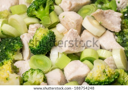 Broccoli And Chicken Meat In Frying Pan - stock photo