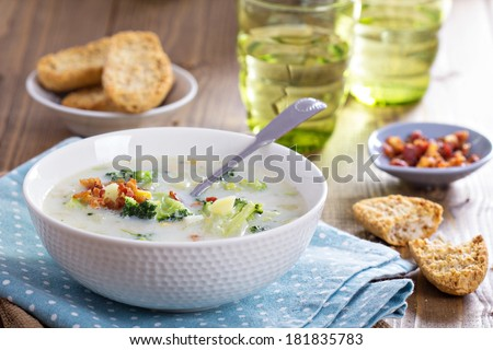 Broccoli and corn chowder with cheese and bacon