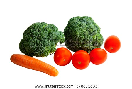 Broccoli, carrot and tomatoes on white background