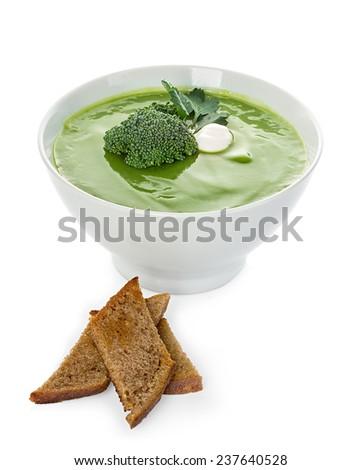 Broccoli cream soup isolated - stock photo