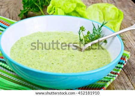 Broccoli Cream Soup Studio Photo - stock photo