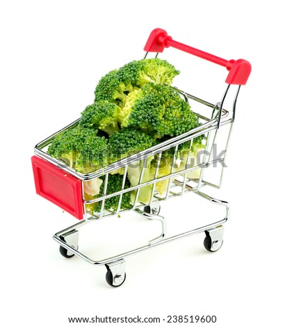 Broccoli florets in shopping cart - stock photo