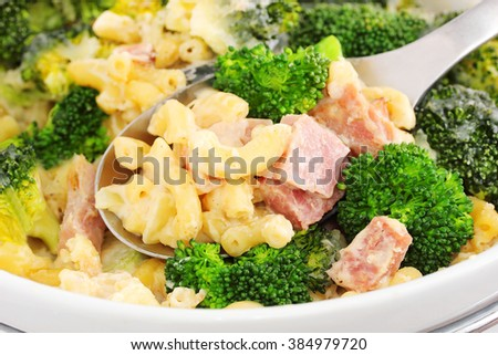 Broccoli ham and cheese bake - stock photo