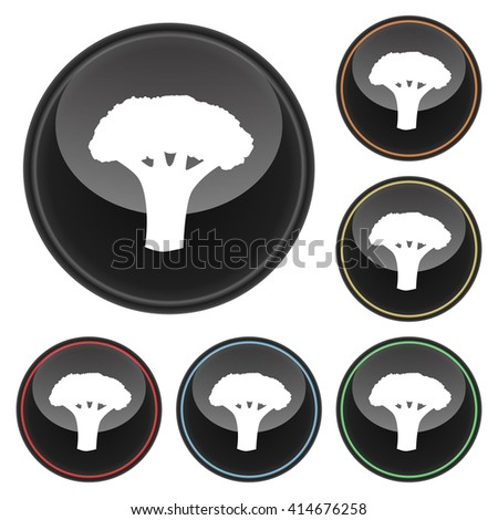 Broccoli Icon Glossy Button Icon Set in With Various Color Highlights.  Raster Version - stock photo