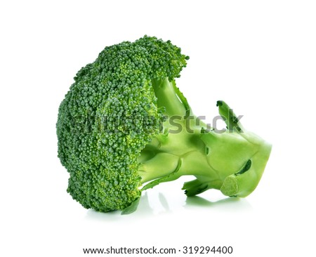 Broccoli isolated on a over white background - stock photo