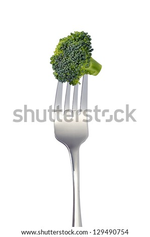 Broccoli on fork