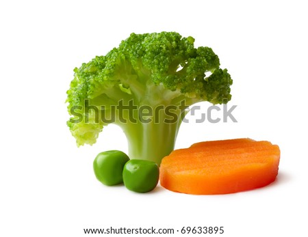 broccoli, peas and carrot on a White background - stock photo