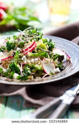 Broccoli,radish and feta salad with quinoa - stock photo