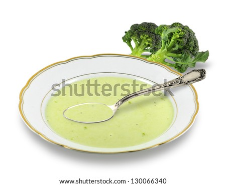 Broccoli soup isolated on white - stock photo