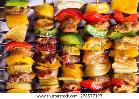 brochette on the grill