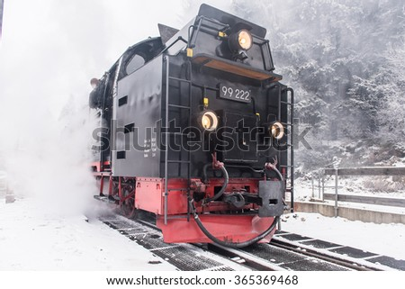 Brocken Train Schierke in the German state of Saxony-Anhalt between the rivers Weser and Elbe.. The peak above the tree line tends.the next prominent elevation would be in the Ural Mountains in Russia