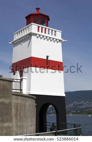 Brockton Point Lighthouse built in 1914 in Stanley Park (British Columbia).