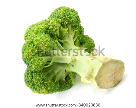 Brocolli head isolated on white background
