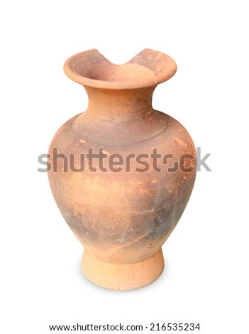 Broken amphora isolated on the white background - stock photo