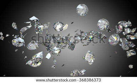 Broken and cracked diamonds or gemstones high resolution