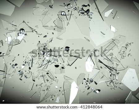 Broken and splitted glass pieces. Large resolution - stock photo