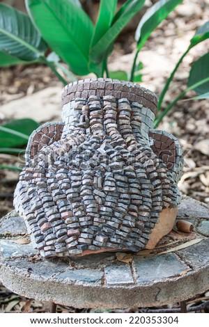 Broken antique ceramic vase - stock photo
