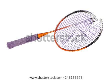 Broken badminton racket isolated on white background