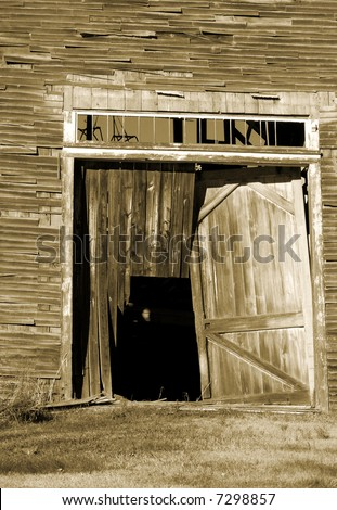 Broken Barn Door - stock photo