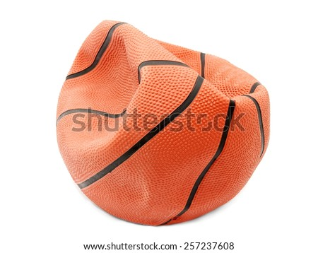 Broken basketball isolated on white background - stock photo