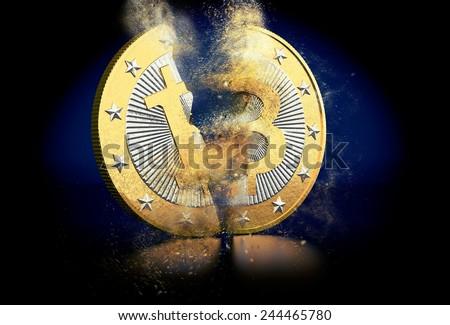 Broken Bitcoin - stock photo