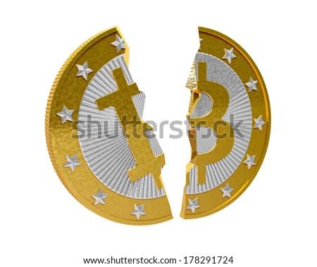 Broken Bitcoin - isolated on white - stock photo