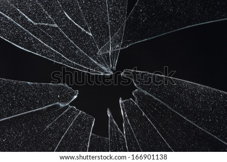 broken black glass - stock photo