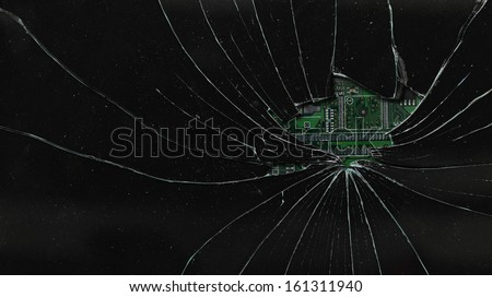 Broken black monitor - stock photo