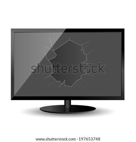 Broken Black Monitor on the white background. Raster illustration. - stock photo