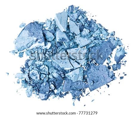 Broken blue eye shadow, isolated on white macro - stock photo