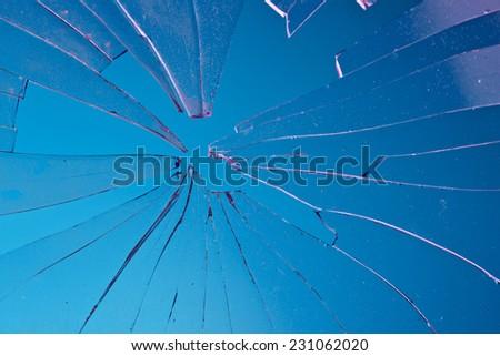broken blue glass  - stock photo