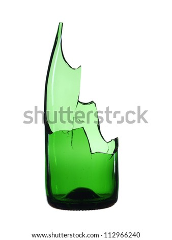 Broken bottle green isolated on white background - stock photo