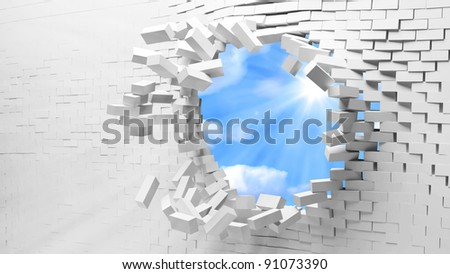 Broken Brick Wall with beautiful sun behind - stock photo