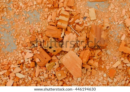 Broken bricks at the construction site - top view