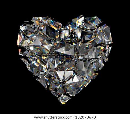 broken brilliant crystal heart isolated on black background - stock photo