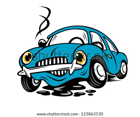 Broken car in cartoon style for repair or service concept. Vector version also available in gallery - stock photo