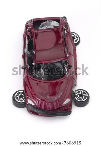 Broken Car - isolated on white - stock photo