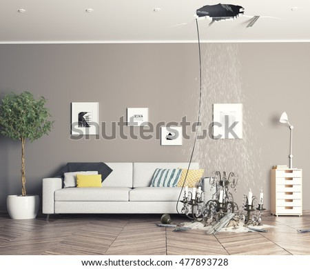 broken ceiling in the room and fallen chandelier