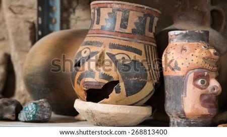Broken ceramic pot of antique nazca culture. - stock photo