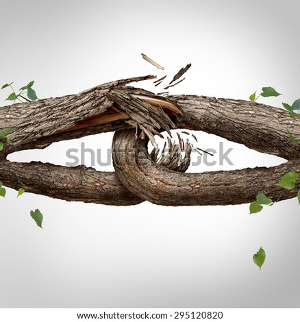 Broken chain concept and disconnected symbol as two different tree trunks tied and linked together as weak fragile,links breaking and losing trust or faith metaphor as separation and divorce. - stock photo