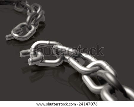 Broken chain with depth of field effect.