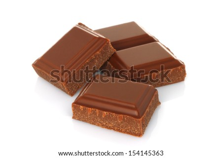 Broken chocolate bar isolated on white background