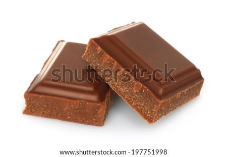 Broken chocolate bar isolated on white background  - stock photo