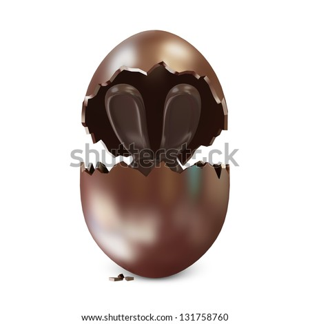 Broken Chocolate Easter Egg with Chocolate Bunny Inside over white background