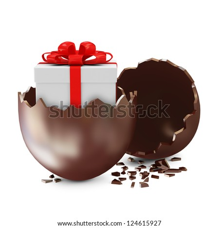 Broken Chocolate Easter Egg with Gift Box Inside over white background