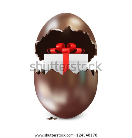 Broken Chocolate Easter Egg with Gift Box Inside over white background. (Animation for this image see in my footage gallery)
