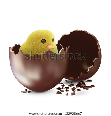 Broken Chocolate Easter Egg with Little Chicken isolated on white background