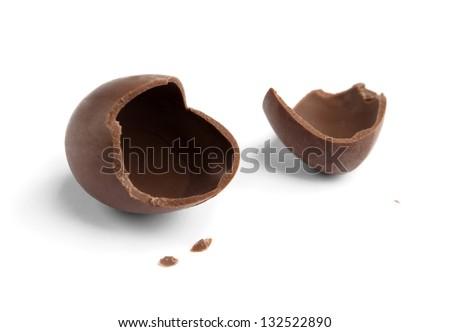 Broken chocolate egg, isolated on white - stock photo